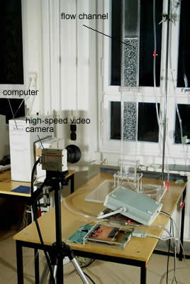 photography of a measurement setup with high-speed videocamera