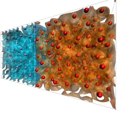 Two cells of DFT-MD simulations of aluminium, the one at the back is for fcc aluminium at T=300K in a perfect fcc lattice. The one at the front depicts fluid aluminium above the melting point. A situation similar to this might occur during laser shock compression of matter. The blue(red) spheres depict the position of the aluminium nuclei, the blue(red) surfaces are iso-surfaces of the electronic density. More information can be found at: www.hzdr.de/db/Cms?pOid=45635&pNid=2097&pLang=en ©Copyright: Vorberger, Jan