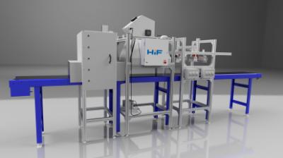 Versuchsanlage zur Charakterisierung sekundärer Rohstoffe auf einem Förderband am Helmholtz-Institut Freiberg für Ressourcentechnologie (HIF)