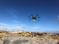 A drone equipped with a high performance camera and sensors provides images for estimating the raw material potential in the underground. ©Copyright: HZDR/ Richard Gloaguen
