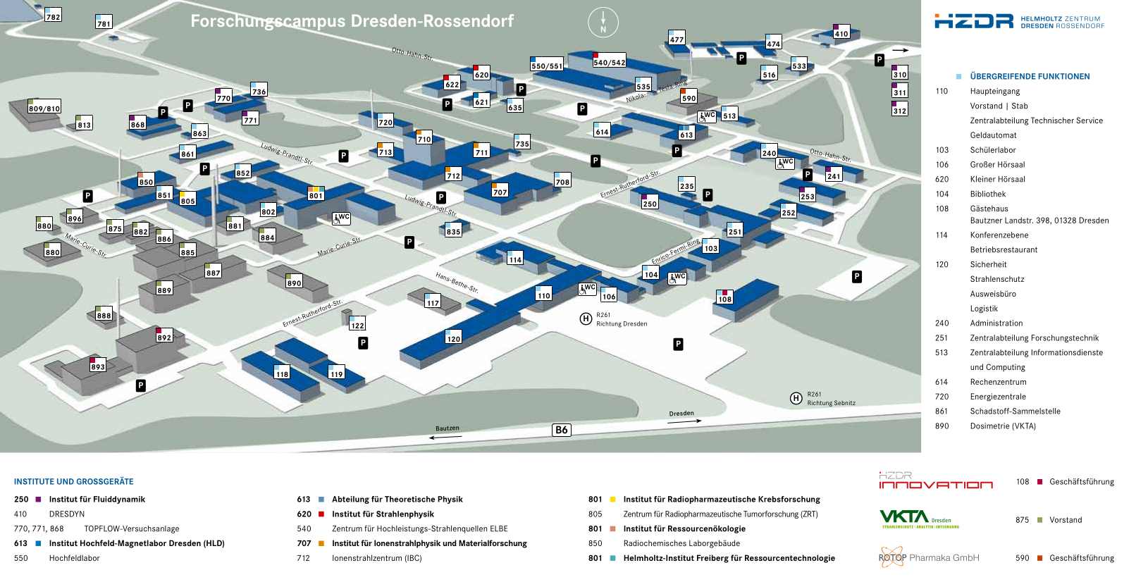 Siteplan HZDR (English/German)