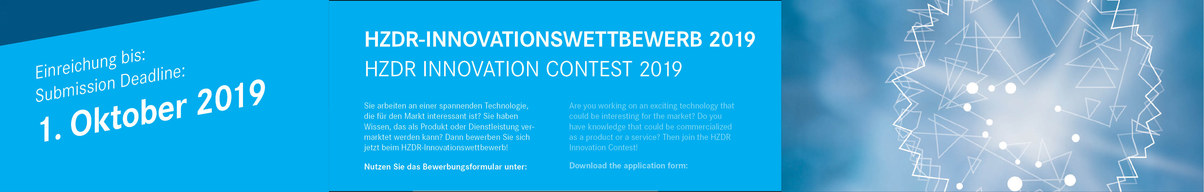 Web banner HZDR Innovation Contest 2019 ©Copyright: HZDR