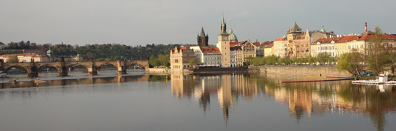 View over Vltava river to Charles Brigde in Prague